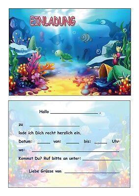 Einladungskarten Kinder Geburtstag Einladungen Aquarium Meer See Fische Teich #5