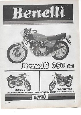 A3 SIZE VINTAGE ITALIAN MOTORCYCLES. BENELLI 750 SEI MOTORCYCLE METAL SIGN.