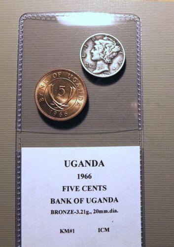 AFRICA - UGANDA - 1966 FIVE CENTS, BANK OF UGANDA - RED BU BRONZE - KM#1   ICM
