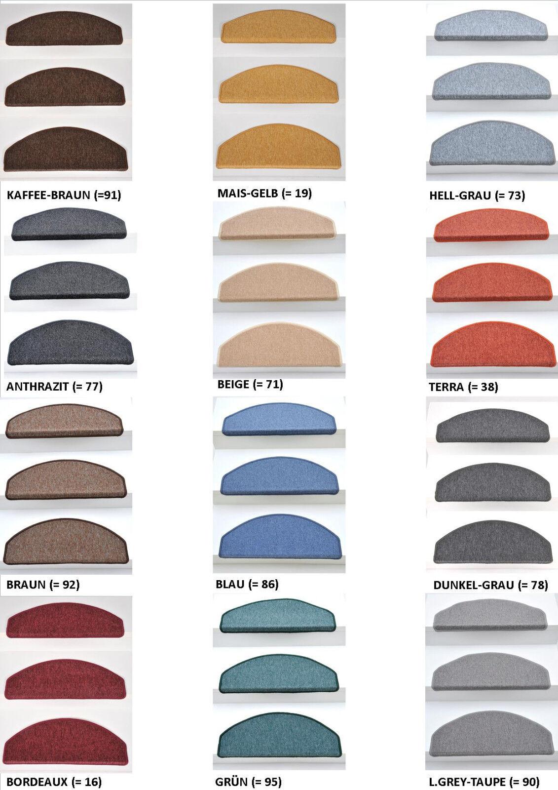 Stufenmatten Treppenmatten BORNEO 12 Farben - Mehrere Set-Varianten 10-30 Stück