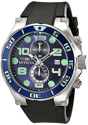 Invicta Hombre Reloj Silver Plata Blue Face Crystal Watch Steel Case Hand Arm