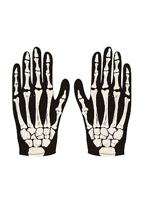 Adults Halloween Skeleton Fancy Dress Up Gloves Mens Costume Party Accessory (Halloween Dress Up Man)