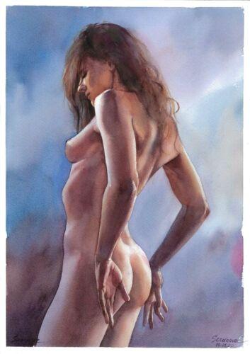 original drawing A3 215SA art by samovar woman nude girl watercolor Signed 2020