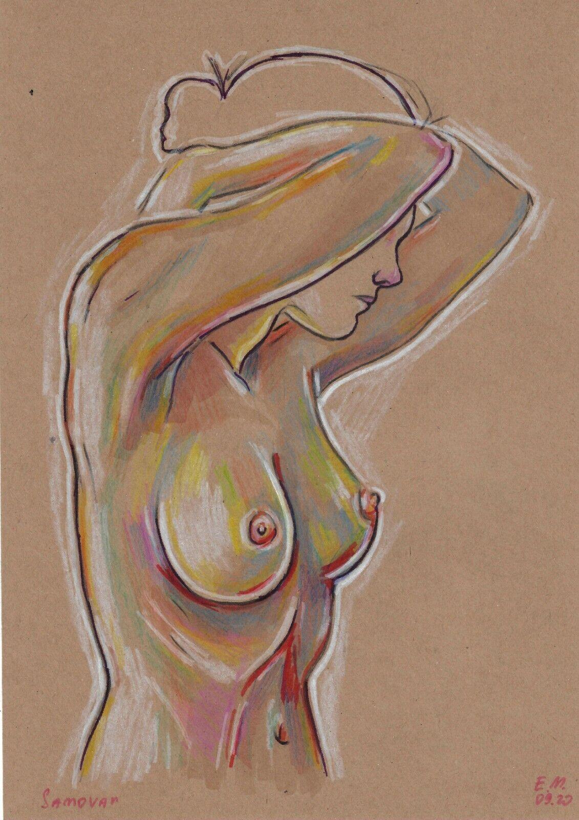 Original Drawing A4 114VE Art Samovar Kraft Paper Colored Marker Female Nude - $8.03