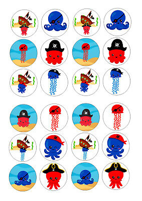 24 OCTOPUS PIRATES CUPCAKE TOPPERS ICED ICING FAIRY CAKE TOPPERS