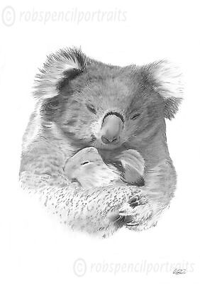KOALA BEAR and Baby JOEY Art Drawing Print Authentic Gift for Koala Lover