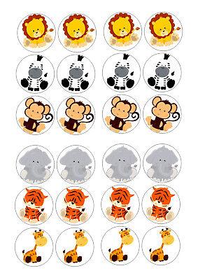 24 BABY SAFARI ANIMALS  BIRTHDAY CUPCAKE TOPPER WAFER RICE EDIBLE  CAKE  TOPPERS (Safari Cupcake Toppers)