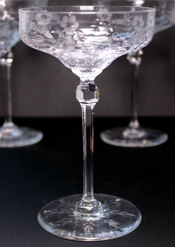 4 Rock Sharpe Clear Cut Floral Swag Snowflake Foot Stem #1007 Tall Sherbet Glass
