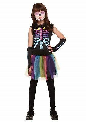 Halloween Girl Skeleton Multi Coloured Child Fancy Dress Up Costume Outfit