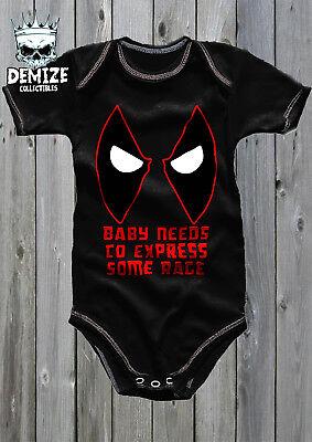 DEADPOOL Baby Grow Body Suit Vest (BABY NEEDS - Deadpool Bodysuit