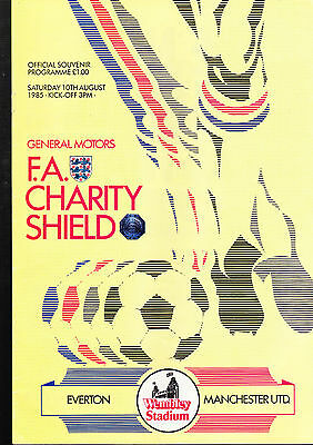 Everton Vs. Manchester United Programme August 1985 FA Charity Shield + TICKET