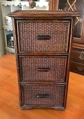 OLD CHINESE ASIAN 3 DRAWER CHEST BAMBOO WOOD WOVEN CANE TABLETOP CABINET BOX (Asian 3 Drawer Chest)