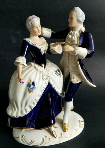 ROYAL DUX BOHEMIA Czechoslovakia  Cobalt Blue  Dancing Victorian couple.