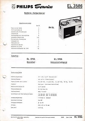 Service Manual-Anleitung für Philips EL 3586,RK 5 L