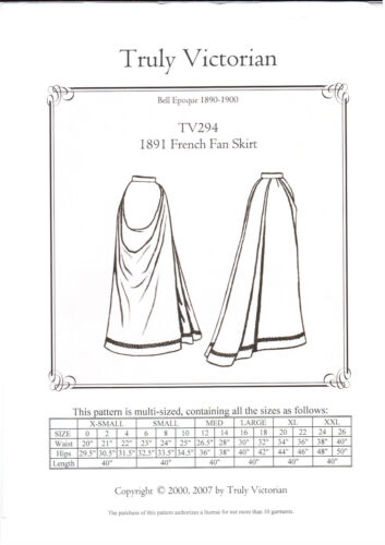 Victorian Old West 1891 french fan skirt TV294 Sewing Pattern