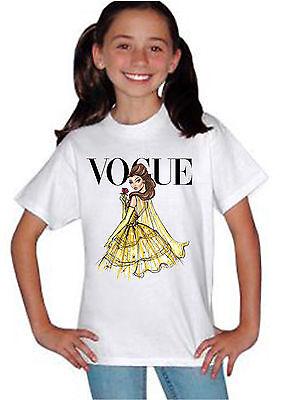 Disney Princess Belle Rose Vogue Boys Girls Kids Unisex White Top T Shirt 765 (Disney Princess Rose)