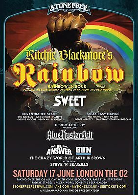"""RITCHIE BLACKMORE / SWEET """"RAINBOW IN ROCK"""" 2016 LONDON CONCERT TOUR POSTER"""