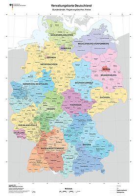 XXL DIN B1 Verwaltungskarte Deutschlandkarte Bundesländer Poster (K703)