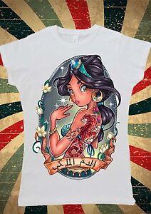 disney princess jasmine aladdin tattoo arabic women t shirt vest tank top w133 ebay. Black Bedroom Furniture Sets. Home Design Ideas