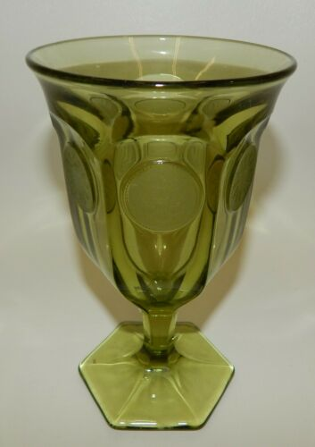 """Fostoria Coin Glass Olive Green Water Goblet 6-1/4"""""""