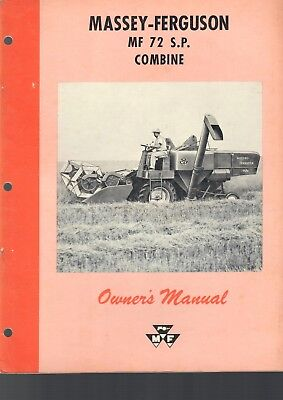 Massey Ferguson Owners Manual Mf 72 Sp Combine 66 Pages Vintage Tractor