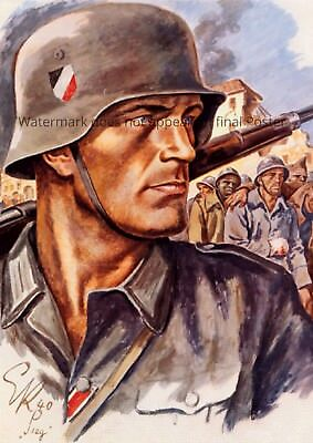 WWII Poster German Soldier war wall art Stahlhelm M35 M42 uniform wehrmacht WW2, used for sale  Shipping to United States