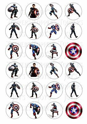 24 CAPTAIN AMERICA CUPCAKE TOPPER WAFER RICE EDIBLE FAIRY CAKE BUN TOPPERS