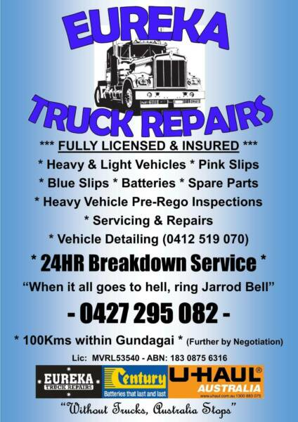 Eureka Truck Repairs Gundagai-24Hour Breakdowns-Trucks-Buses-Utes
