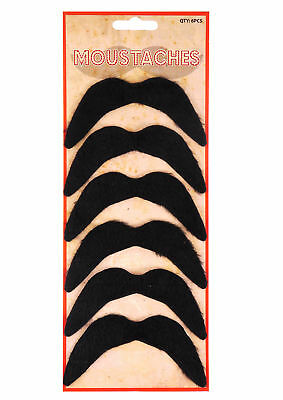 Pack of 6 Black Fake Moustaches - Self Adhesive Party Joke Mexican 70's Stick On (Party Moustaches)