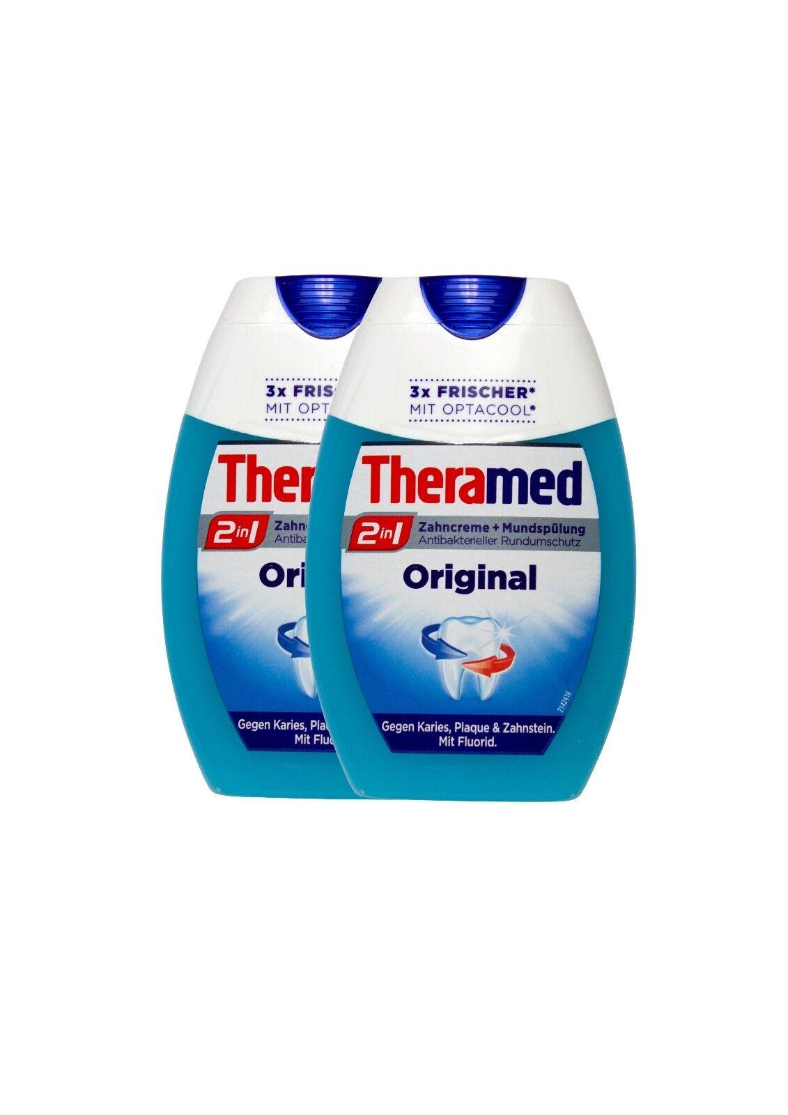 2x Theramed Zahncreme + Mundspülung 2in1 Original mit Optacool und Fluorid