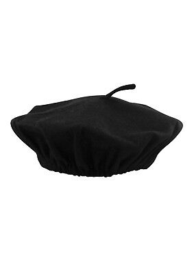 Unisex Black FRENCH BERET HAT Mime Cap Fancy Dress Costume Accessory One Size - French Beret Costume