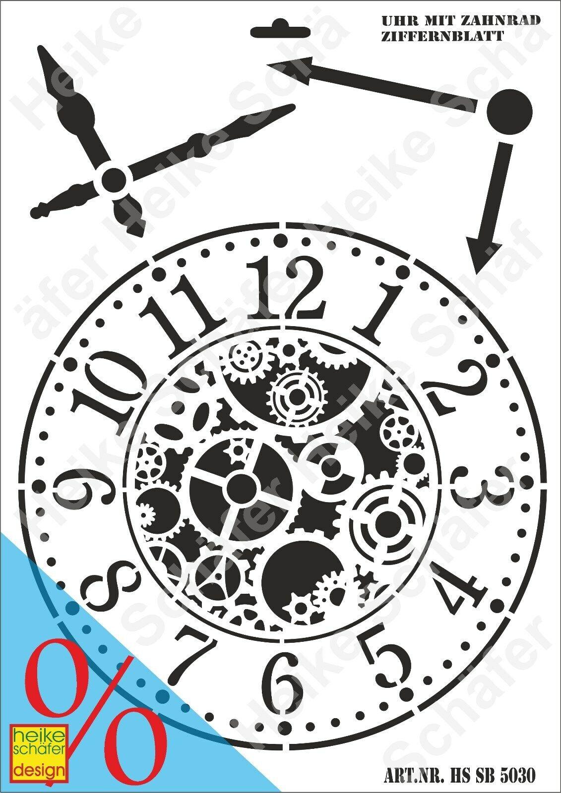 Schablone-Stencil A3 159-5030 Uhr mit Zahnrad Ziffernb. Neu Heike Schäfer Design