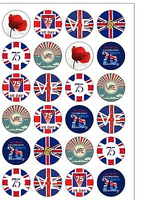 24 Round PRECUT VE DAY Union Jack Flag Edible Wafer Paper Cake Cupcake Toppers