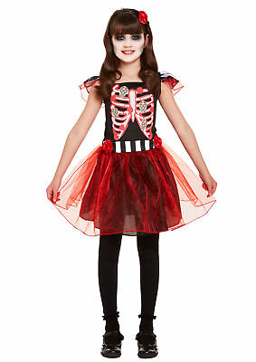 Skeleton Girls Costume Halloween Childrens Outfit Day of the Dead 4-12 Years](Day Of The Dead Girl Halloween Costume)