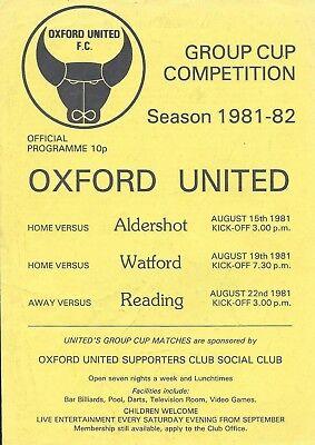 Football Programme>OXFORD UNITED v ALDERSHOT & WATORD Aug 1981