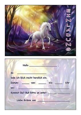 Einladungskarten Kinder Geburtstag Einladungen Einhorn Zauberwald Unicorn