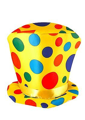 H21 057 Fancy Dress Rainbow Spotted Clown Tall Hat Adult Size Circus Accessory
