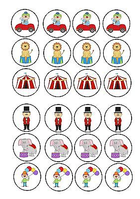 24 icing cupcake cake toppers decorations edible Circus clowns lion elephant