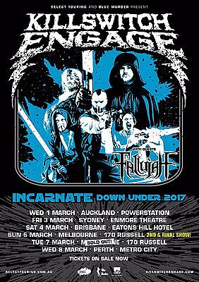 "KILLSWITCH ENGAGE ""INCARNATE DOWN UNDER 2017"" AUSTRALIAN CONCERT TOUR POSTER"