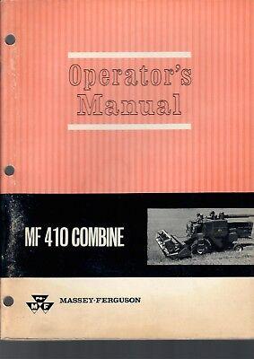 Massey Ferguson Operators Manual Mf 410 Combine 140 Pgs Vintage 1965 Tractor
