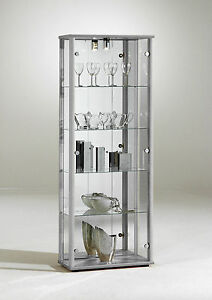 Silver Glass Display Cabi on lockable cabinet