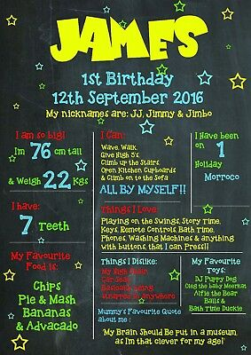 1st Birthday A4 Keepsake Personalised Chalk Board Style Print Sign Gift Present - 1st Birthday Board