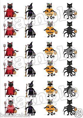 Eßbar Tortenaufleger Halloween Muffin NEU Tortenbild Katze Kostüm Kürbis Hexe