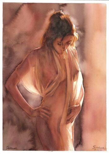 original drawing A3 220SA art by samovar woman nude girl watercolor Signed 2020