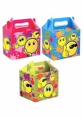 Kids EMOJI PARTY LUNCH BOXES Smiley Face Themed Birthday Bags Favours Box Gift  - Emoji Themed Party