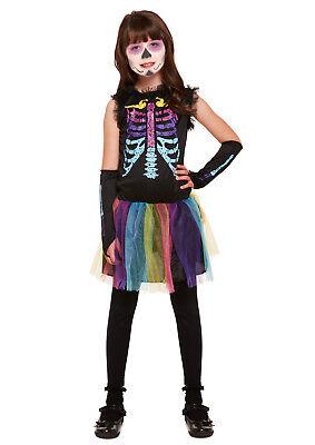 Kinder Mädchen Mehrfarbig Skelett Knochen Halloween Party Kostüm - Knochen Kind Kostüme