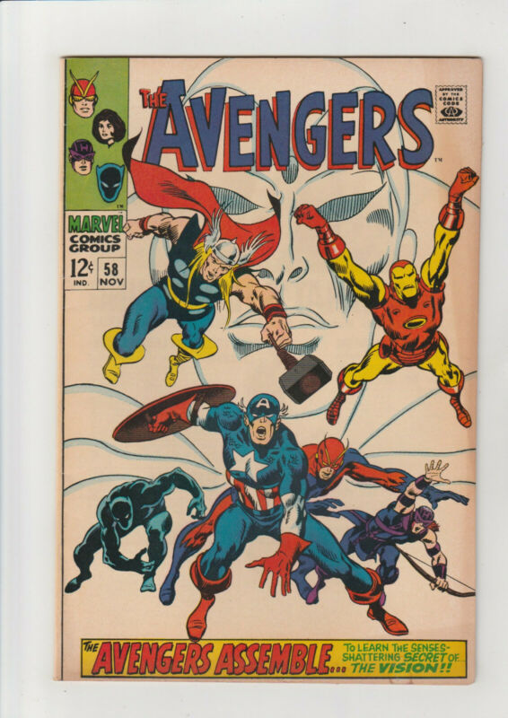 Avengers #58 VF w dust shadow Marvel comic 1968 2nd Vision