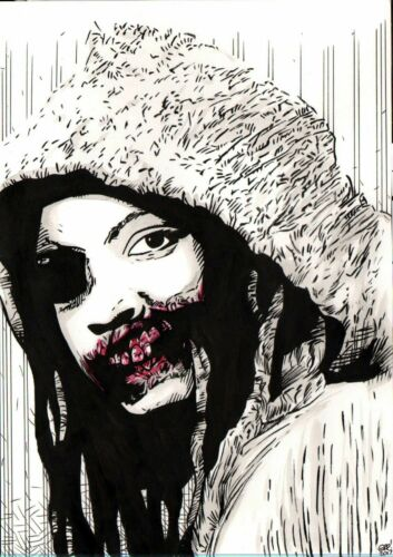 The Walking Dead Original Art Sketches Michonne Danai Gurira Zombie 2 Piece Set
