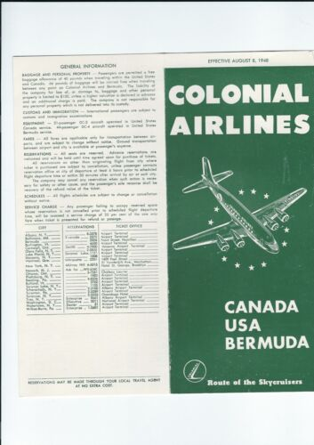 Colonial  Airlines  August  8. 1948 Timetable.