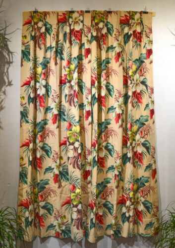 MID CENTURY TROPICAL JUNGLE FLORAL BARKCLOTH PAIR/DRAPERIES, LINED, MINT, WOWZA